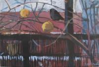 Blackbird and winter, 60 x 40, oil, 2012