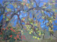 Wild apple tree, 40 x 28, oil on carton, 2016