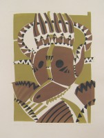 crok mask, monotype with paper templates, 45 x 70
