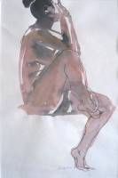Sitting, water colour, pencil, 40 x 60