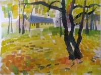 Yellow autumn 3, watercolour, 27 x 20