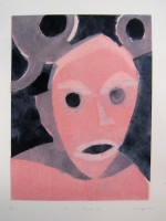 Horn mask , monotype with templates, 50 x 70