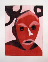 mask with horn, monotype with templates, 50 x 70
