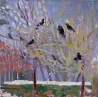 Blackbird and birches, oil on canvas, 40x 40