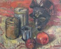 Tee, tin and mask, 50 x 40