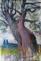 willow in autumn, 95 x 200, canvas, oil