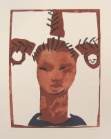 with big hair, monotype, 50 x 70