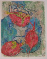 by mistake, monotype and crayons and watercolour, 50 x 70