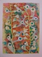 eyes to observe , monotype and crayons, 50 x 60