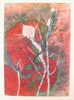 Growing in the dark, monotype, pastel, 50 x 70