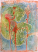 Seeds, monotype, watercolour, 50 x 70