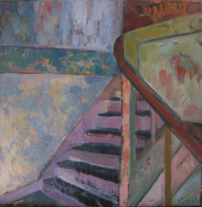 Tiger on the stairs, 40 x 40, oil on canvas, 2013