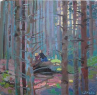 Children in the woods, 70 x 70, oil, 2013