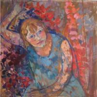 Tikka the garden, oil, 60 x 60