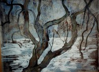 Apple tree in winter, 70 x 50, monotype, 2004