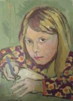 Girl in green, oil, 21 x 29