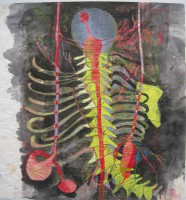 column spines, monotype, crayons, 58 x 70