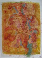 genealogical tree, monotype, crayons, 50 x 70