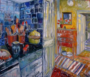 Kitchen at H. &N., 110 x 90, oil on canvas, 2016