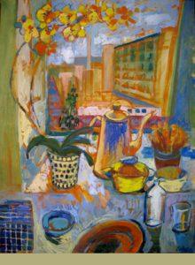 Norrebro window to backyard, 90 x 110, oil on canvas, 2016