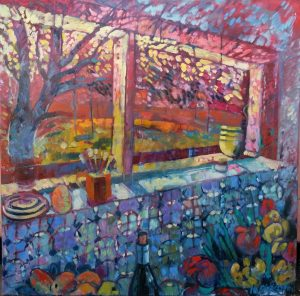 summerhouse in autumn, 120 x 80, oil,