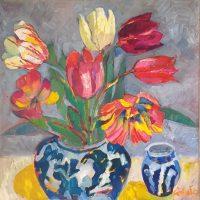 De hollandske tulipaner, 50 x 50, olie på lærred, 2019