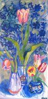 Persiske tulipaner, 120x 60, olie på lærred, 2019