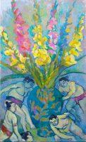 Sumo brydning og gladiolus, 120 x 60, olie på lærred, 2019