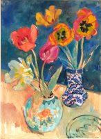 Tulipaner i to vaser, 80 x 60, olie på lærred, 2019